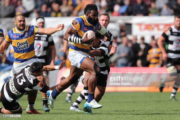 Bay of Plenty's Joseva Ravouvou runs in for a try during the round 8 Mitre 10 Cup match between Bay of Plenty and Hawke's Bay at Tauranga Domain on...