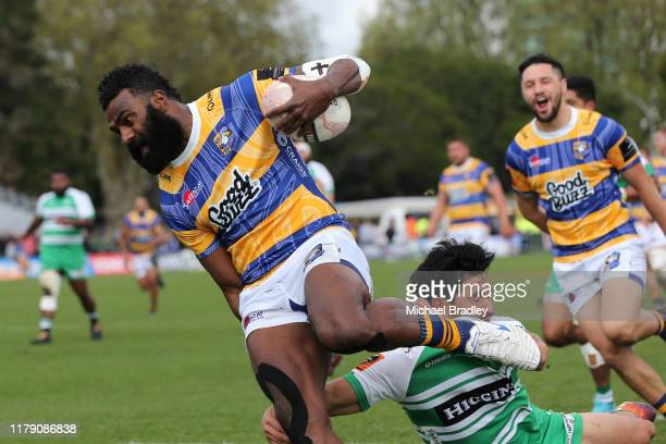 Bay of Plenty's Joseva Ravouvou scores a try during the Mitre 10 Cup Round 9 match between Bay of Plenty and Manawatu on October 05 2019 in Tauranga...