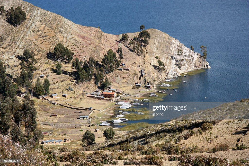 Bay on Isla del Sol, Lake Titicaca, Bolivia : Stock Photo