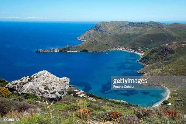bay, porto kagio, mani, laconia, peloponnese, greece - peloponnese stock photos and pictures