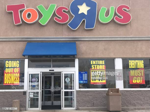 Going out of business signs at the Toys R Us store in Bay Shore New York as liquidation sales began at the Toys R Us/Babies R Us location on March 23...