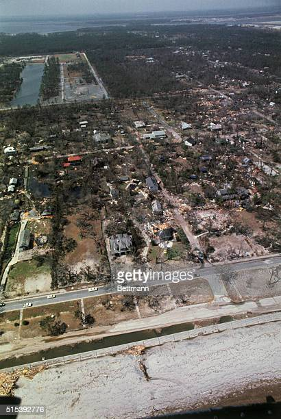 Bay St. Louis, Miss.: Views taken from Jet Ranger Navy helicopter August 21st to show damage left by Hurricane Camille. Helicopter ran along beach...