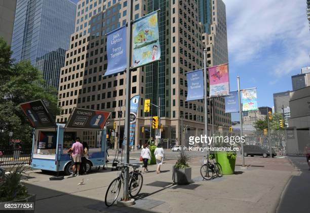 Bay Street at Queens Quay West, Toronto, Canada in Summer