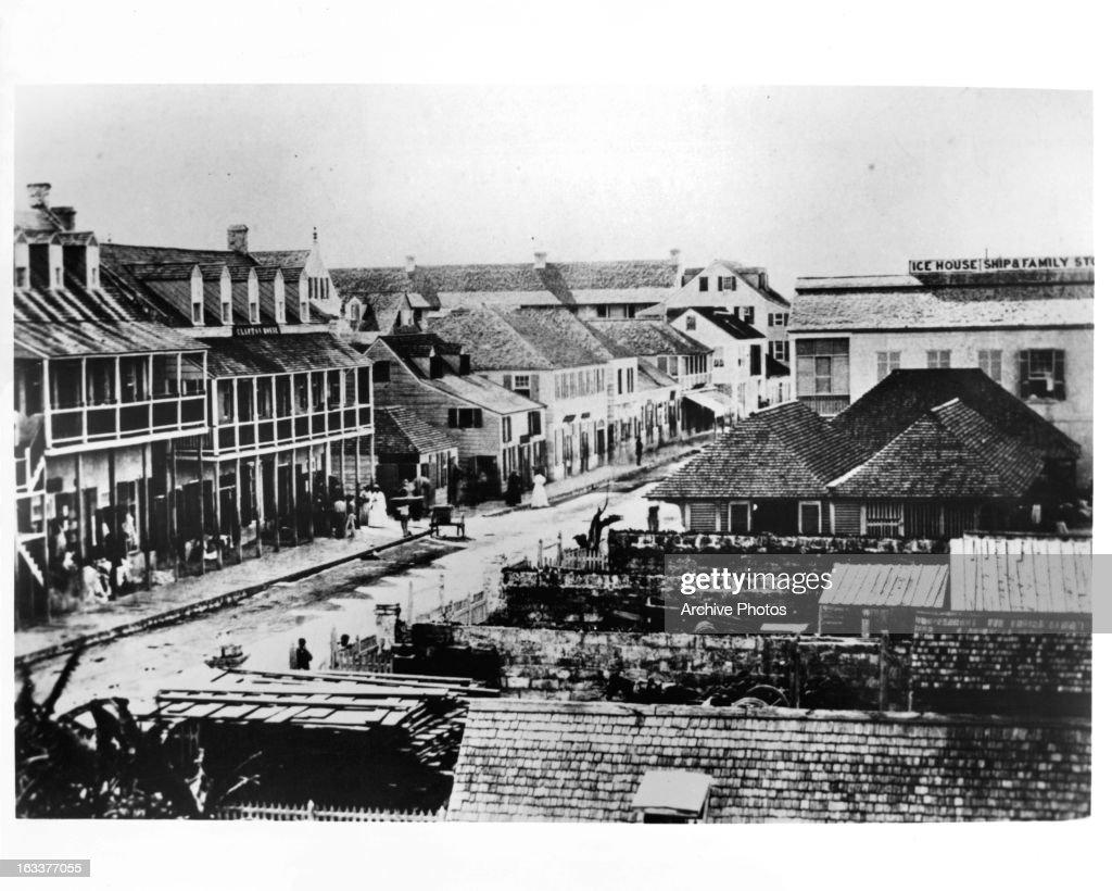 bay street in nassau bahamas 1862 ニュース写真 getty images