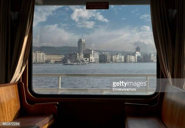 bay view from the ferry window. - izmir stock pictures, royalty-free photos & images