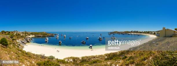 Bay, white beach with boat and rocks, island in Indian Ocean, Rottnest Island, Australia, Western Australia, Down Under