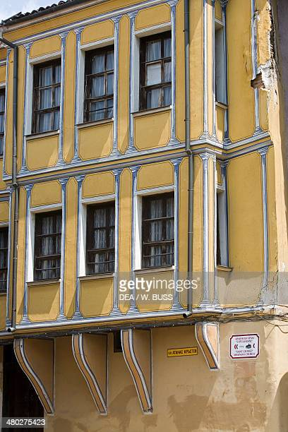 Bay window of a house in the old town of Plovdiv Bulgaria