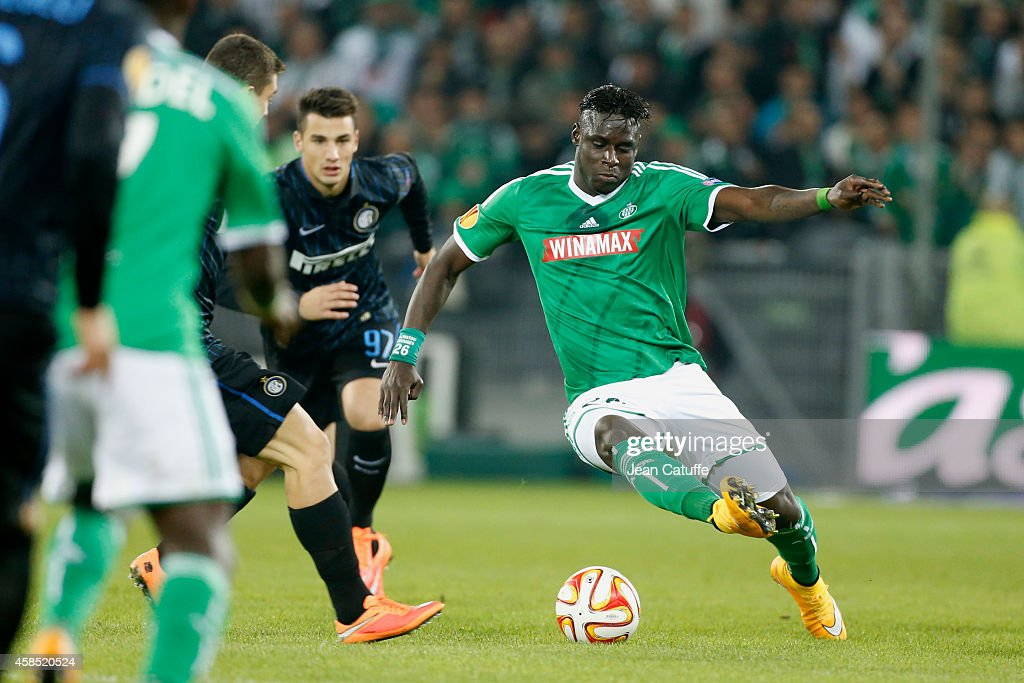 Bayal Sall of Saint-Etienne in action during the UEFA Europa League Group F match between AS Saint-Etienne and FC Internazionale Milano on November 6, 2014 in Saint-Etienne, France.