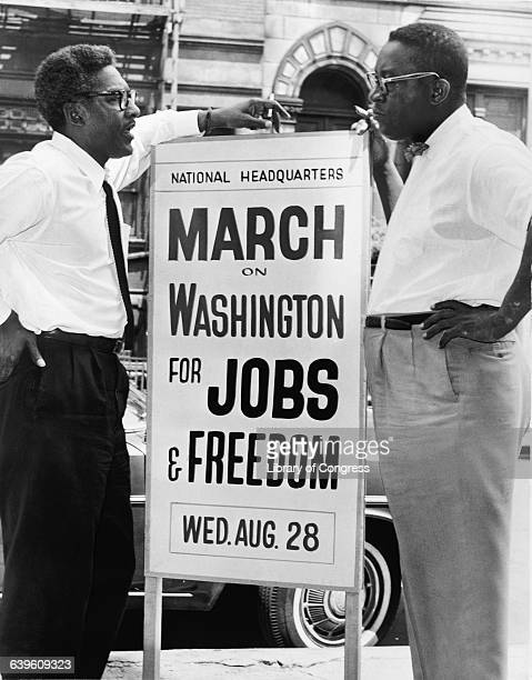 Bayard Rustin left and Cleveland Robinson shown during the March on Washington for Civil Rights