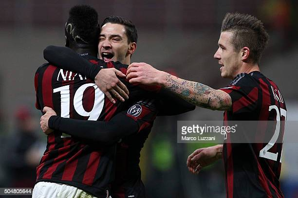 Baye Niang of AC Milan celebrates his goal with his teammates Mattia De Sciglio and Juraj Kucka during the TIM Cup match between AC Milan and Carpi...