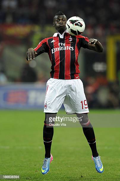 Baye Niang of AC Milan in action during the Serie A match between AC Milan and SSC Napoli at San Siro Stadium on April 14 2013 in Milan Italy