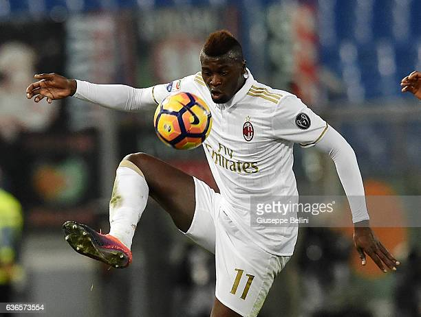 Baye Niang of AC Milan in action during the Serie A match between AS Roma and AC Milan at Stadio Olimpico on December 12 2016 in Rome Italy