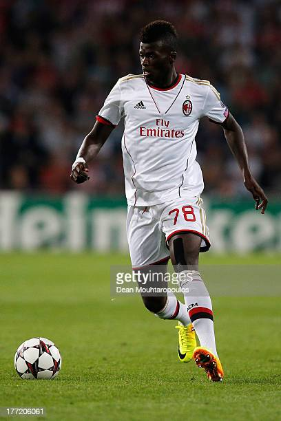 M'baye Niang of AC Milan in action during the UEFA Champions League Playoff First Leg match between PSV Eindhoven and AC Milan at PSV Stadion on...