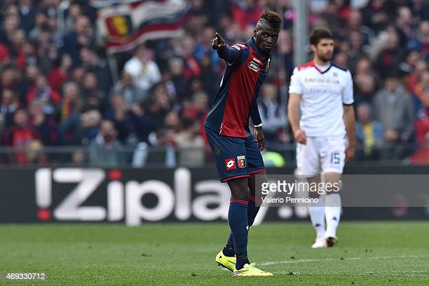 Baye Niang of Genoa CFC celebrates the opening goal during the Serie A match between Genoa CFC and Cagliari Calcio at Stadio Luigi Ferraris on April...