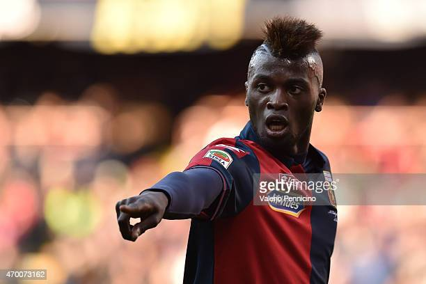 Baye Niang of Genoa CFC gestures during the Serie A match between Genoa CFC and Cagliari Calcio at Stadio Luigi Ferraris on April 11 2015 in Genoa...