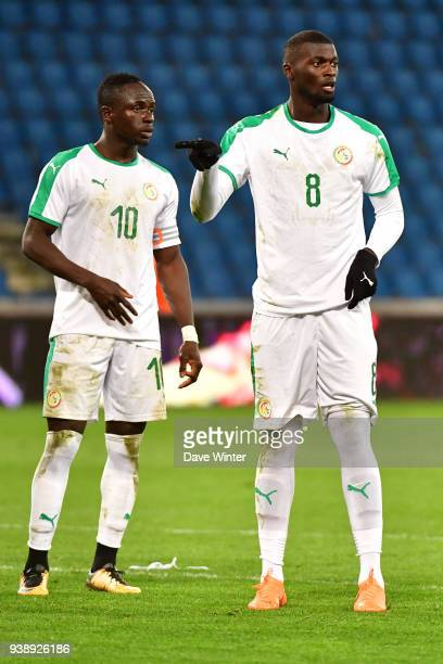 M'Baye Niang of Senegal and Sadio Mane of Senegal during the international friendly match match between Senegal and Bosnia Herzegovina on March 27...
