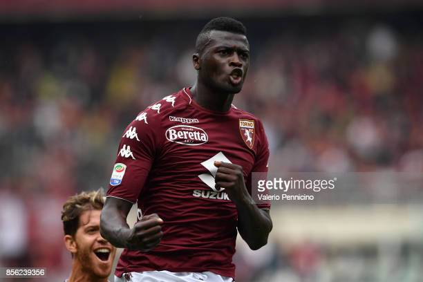 Baye Niang of Torino FC celebrates a goal during the Serie A match between Torino FC and Hellas Verona FC at Stadio Olimpico di Torino on October 01...