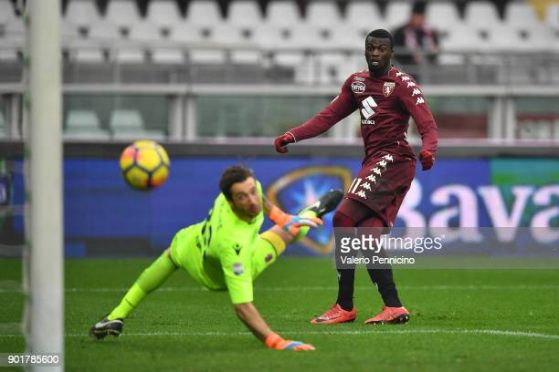 Baye Niang of Torino FC scores a goal during the serie A match between Torino FC and Bologna FC at Stadio Olimpico di Torino on January 6 2018 in...