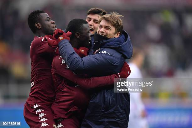 Baye Niang of Torino FC scores a goal with team mates during the serie A match between Torino FC and Bologna FC at Stadio Olimpico di Torino on...