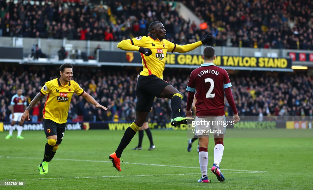 M'Baye Niang of Watford celebrates scoring his sides second goal during the Premier League match between Watford and Burnley at Vicarage Road on February 4, 2017 in Watford, England.