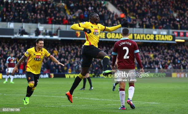 Baye Niang of Watford celebrates scoring his sides second goal during the Premier League match between Watford and Burnley at Vicarage Road on...