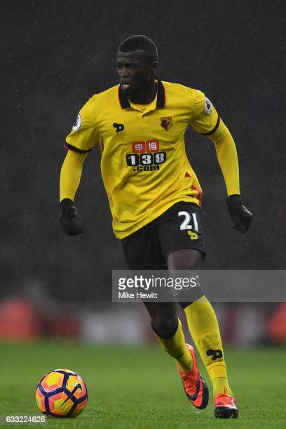 Baye Niang of Watford in action during the Premier League match between Arsenal and Watford at Emirates Stadium on January 31 2017 in London England