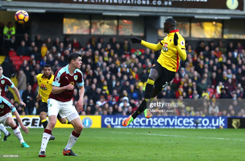 M'Baye Niang of Watford (R) scores his sides second goal during the Premier League match between Watford and Burnley at Vicarage Road on February 4, 2017 in Watford, England.