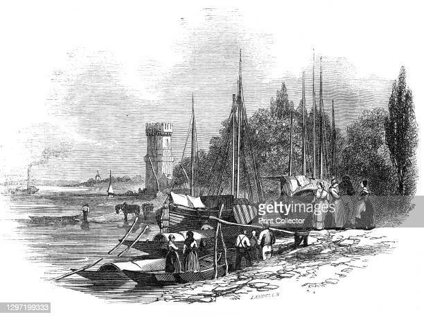 Bayen Thurm, Cologne, 1845. Boats on the River Rhine at Cologne in Germany, with the Bayenturm in the background. '...the picturesque river scenery...