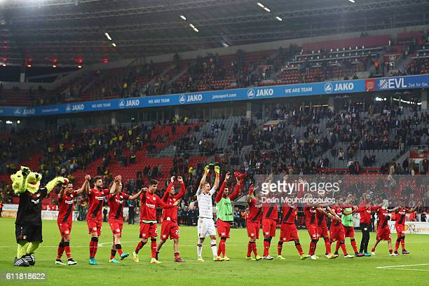 Bayer 04 Leverkusen celebrate after victory in the Bundesliga match between Bayer 04 Leverkusen and Borussia Dortmund at BayArena on October 1 2016...