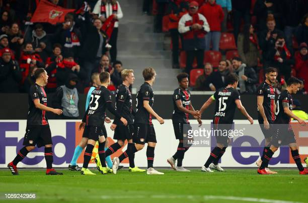 Bayer 04 Leverkusen players celebrate as Tin Jedvaj of Bayer 04 Leverkusen scores his team's first goal during the UEFA Europa League Group A match...