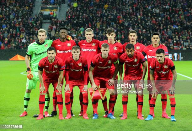 Bayer 04 Leverkusen pose for a photo during the UEFA Europa League round of 32 first leg match between Bayer 04 Leverkusen and FC Porto at BayArena...