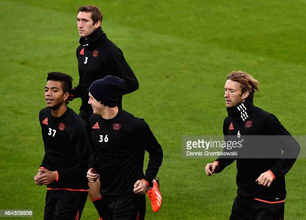 Bayer Leverkusen players practice during a training session ahead of their UEFA Champions League Round of 16 first leg match against Atletico Madrid...