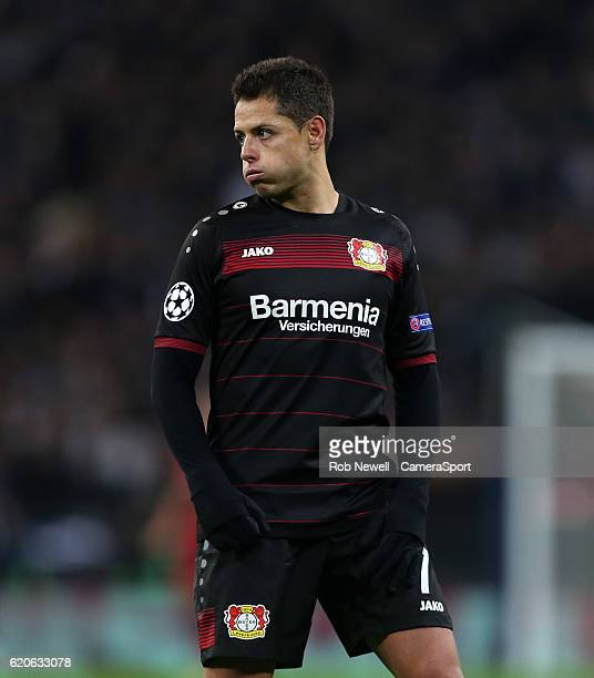 Bayer Leverkusen's Javier Hernandez during the UEFA Champions League match between Tottenham Hotspur FC and Bayer 04 Leverkusen at Wembley Stadium on...