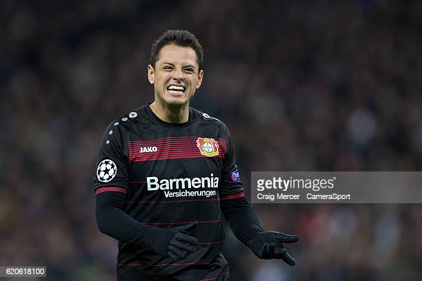 Bayer Leverkusen's Javier Hernandez reacts during the UEFA Champions League match between Tottenham Hotspur FC and Bayer 04 Leverkusen at Wembley...