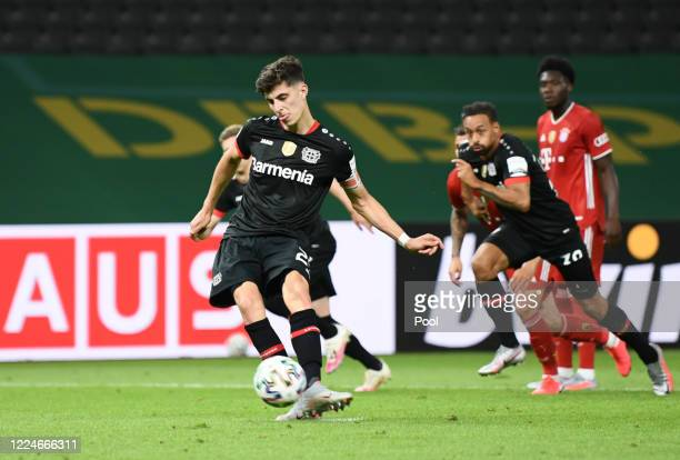 Bayer Leverkusen's Kai Havertz scores his teams second goal from the penalty spot during the DFB Cup final match between Bayer 04 Leverkusen and FC...
