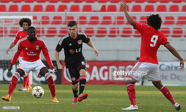 Bayer Leverkusen's midfielder Bjorn Rother with SL Benfica's midfielder Gilson Costa during the UEFA Youth League match between SL Benfica and Bayer...