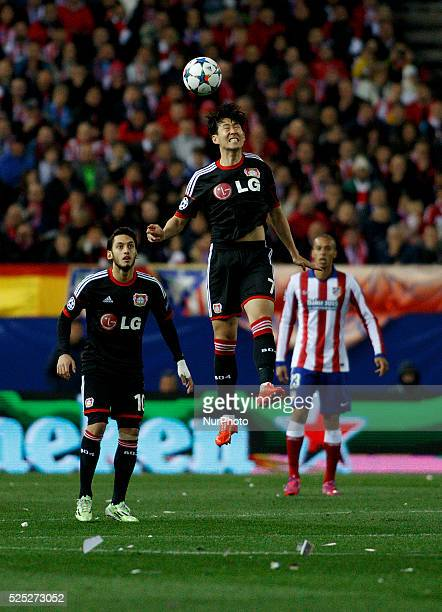 Bayer Leverkusens South Korean Forward dHEUNG-MIN SON during the Champions League 2014/15 match between Atletico de Madrid and Bayer Leverkusen, at...