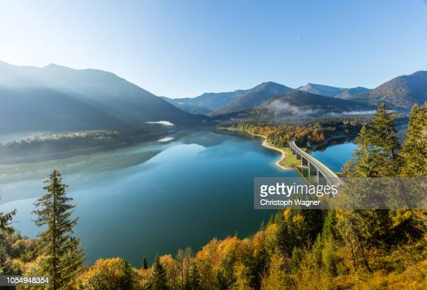 bayerische alpen - sylvensteinsee - munich germany stock pictures, royalty-free photos & images