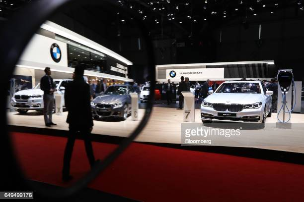 A Bayerische Motoren Werke AG 7 series automobile stands on display on the second day of the 87th Geneva International Motor Show in Geneva...