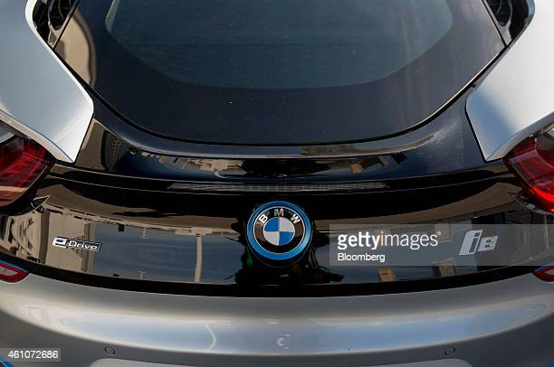 A Bayerische Motoren Werke AG i8 vehicle with remote valet parking is demonstrated during a news conference at the 2015 Consumer Electronics Show in...