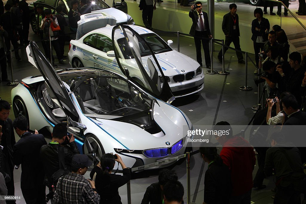 Bayerische Motoren Werke AG's BMW Vision, left, and BMW Concept Active E vehicles are displayed at the Beijing Auto Show in Beijing, China, on Friday, April 23, 2010. The show will be held through April 27. Photographer: Tomohiro Ohsumi/Bloomberg via Getty Images