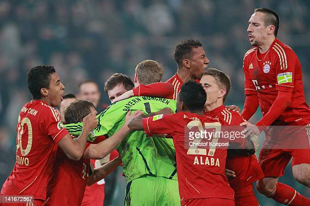Bayern celebrates the 4-2 victory after penalty shoot-out after the DFB Cup semi final match between Borussia Moenchengladbach and FC Bayern Muenchen...