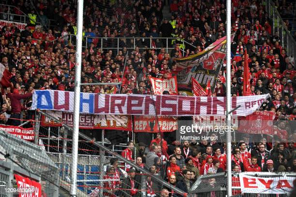 Bayern fans display a banner during the Bundesliga match between TSG 1899 Hoffenheim and FC Bayern Muenchen at PreZero-Arena on February 29, 2020 in...