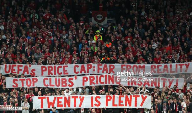 Bayern fans hold up banners protesting UEFA ticket prices during the UEFA Champions League group B match between Tottenham Hotspur and Bayern...