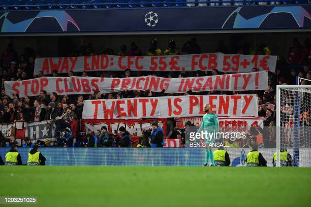 Bayern fans protest against the ticket prices during the UEFA Champion's League round of 16 first leg football match between Chelsea and Bayern...