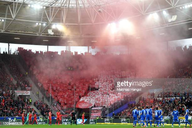 Bayern fans show a TIFO display in relation to 120 years of the club during the Bundesliga match between TSG 1899 Hoffenheim and FC Bayern Muenchen...
