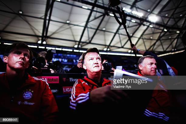 Bayern head coach Louis van Gaal is seen ahead the THome cup match between FC Bayern Muenchen and Hamburger SV at the Veltins Arena on July 18 2009...