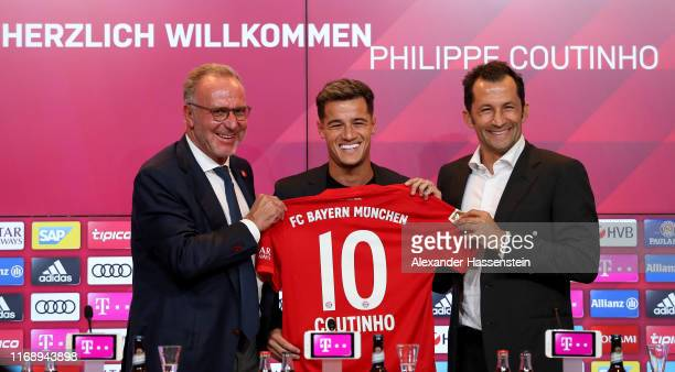 Bayern Muenchen chairman of the excutive board KarlHeinz Rummenigge FC Bayern Muenchen sport manager Hasan Salihamidzic and newly signed player...