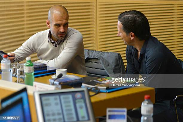 Bayern Muenchen Coach Josep Guardiola and Bayer 04 Leverkusen Coach Roger Schmidt attend the UEFA Elite Club Coaches Forum at the UEFA headquarters...