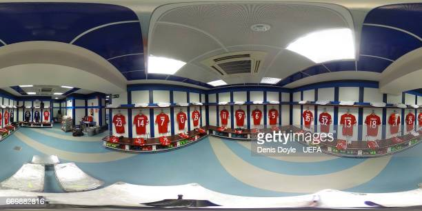 FC Bayern Muenchen dressing room ahead of the UEFA Champions League Quarter Final second leg match between Real Madrid CF and FC Bayern Muenchen at...